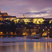 Prague Castle And Charles Bridge Poster