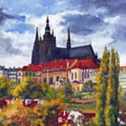 Prague Castle With The Vltava River Poster by Yuriy  Shevchuk