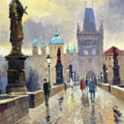 Prague Charles Bridge 02 Poster by Yuriy  Shevchuk
