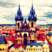 Prague Church Of Our Lady Before Tyn Watercolor Poster