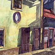 Prague Golden Line Street Poster by Yuriy  Shevchuk