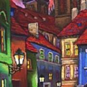 Prague Old Street 01 Poster by Yuriy  Shevchuk