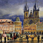 Prague Old Town Squere After Rain Poster