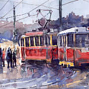 Prague Old Tram 01 Poster by Yuriy  Shevchuk