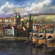 Prague Panorama Charles Bridge Prague Castle Poster by Yuriy  Shevchuk