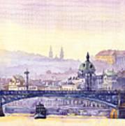 Prague Panorama Chehuv Bridge Poster