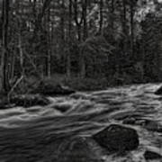 Prairie River Whitewater Black And White Poster