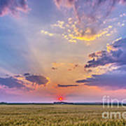 Prairie Sunset With Crepuscular Rays Poster