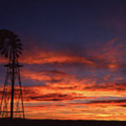 Prairie Sunset With Windmill Poster