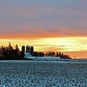 Prairie Winter Sunrise Poster