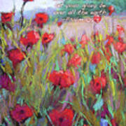 Praising Poppies With Bible Verse Poster