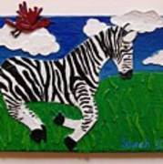 Prancing Zebra And Bird Poster