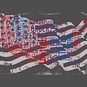 Preamble To The Constitution On Us Map Poster
