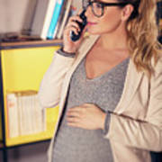 Pregnant Woman At Work Poster