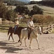 President And Nancy Reagan Horseback Poster