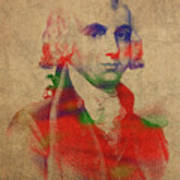 President James Madison Watercolor Portrait Poster