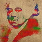 President John Adams Watercolor Portrait Poster