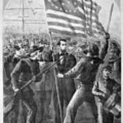 President Lincoln Holding The American Flag Poster by War Is Hell Store