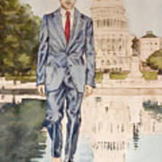 President Obama Walking On Water Poster