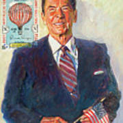 President Reagan Balloon Stamp Poster by David Lloyd Glover