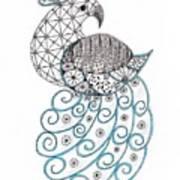 Pretty Peacock Poster by Paula Dickerhoff