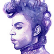Prince Musician Watercolor Portrait Poster