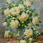 Princess Diana Roses In A Cut Glass Vase Poster