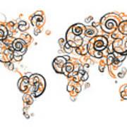 Princeton University Colors Swirl Map Of The World Atlas Poster