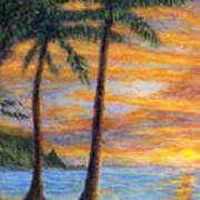 Princeville Beach Palms Poster