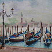 Parking Gondolas In Venice Poster by Charles Hetenyi