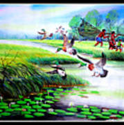 Artistic Painting Photo Flying Bird Handmade Painted Village Art Photo Poster
