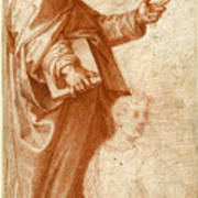 Profile Study Of A Standing Saint Holding A Book With Subsidiary Studies Of Three Additional Figures Poster