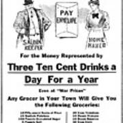 Prohibition And War C. 1918 Poster