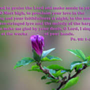Psalms Scripture With Floral Bud Poster