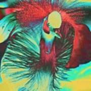 Psychedelic Crested Egret Poster