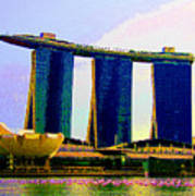 Psychedelic Marina Bay Sands Hotel Singapore Poster