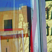 Pueblo Downtown Reflection With Flag Poster