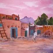 Pueblo In Pink Poster