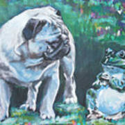 Pug Fawn With Frog Poster