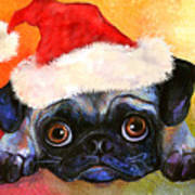 Pug Santa Portrait Poster