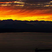 Puget Sound Olympic Mountains Sunset Poster