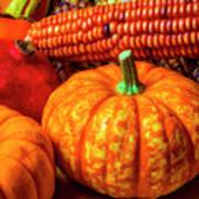 Pumpkin Corn Still Life Poster