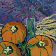 Pumpkins And Wheat Poster by Erin Fickert-Rowland