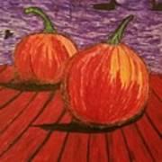 Pumpkins At The Dock Poster