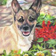 Pup In The Garden Poster