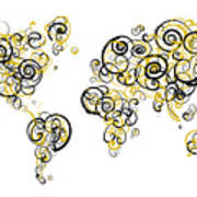 Purdue University Colors Swirl Map Of The World Atlas Poster