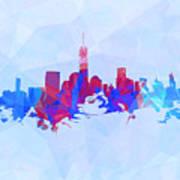 Purple And Blue New York Skyline Poster
