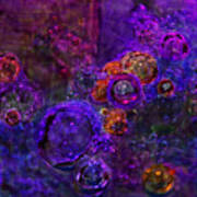 Purple Bubbles Painting Poster