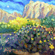 Purple Cactus With Yellow Flower Poster