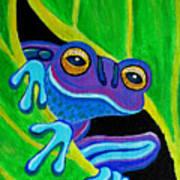 Purple Frog Peeking Through Poster